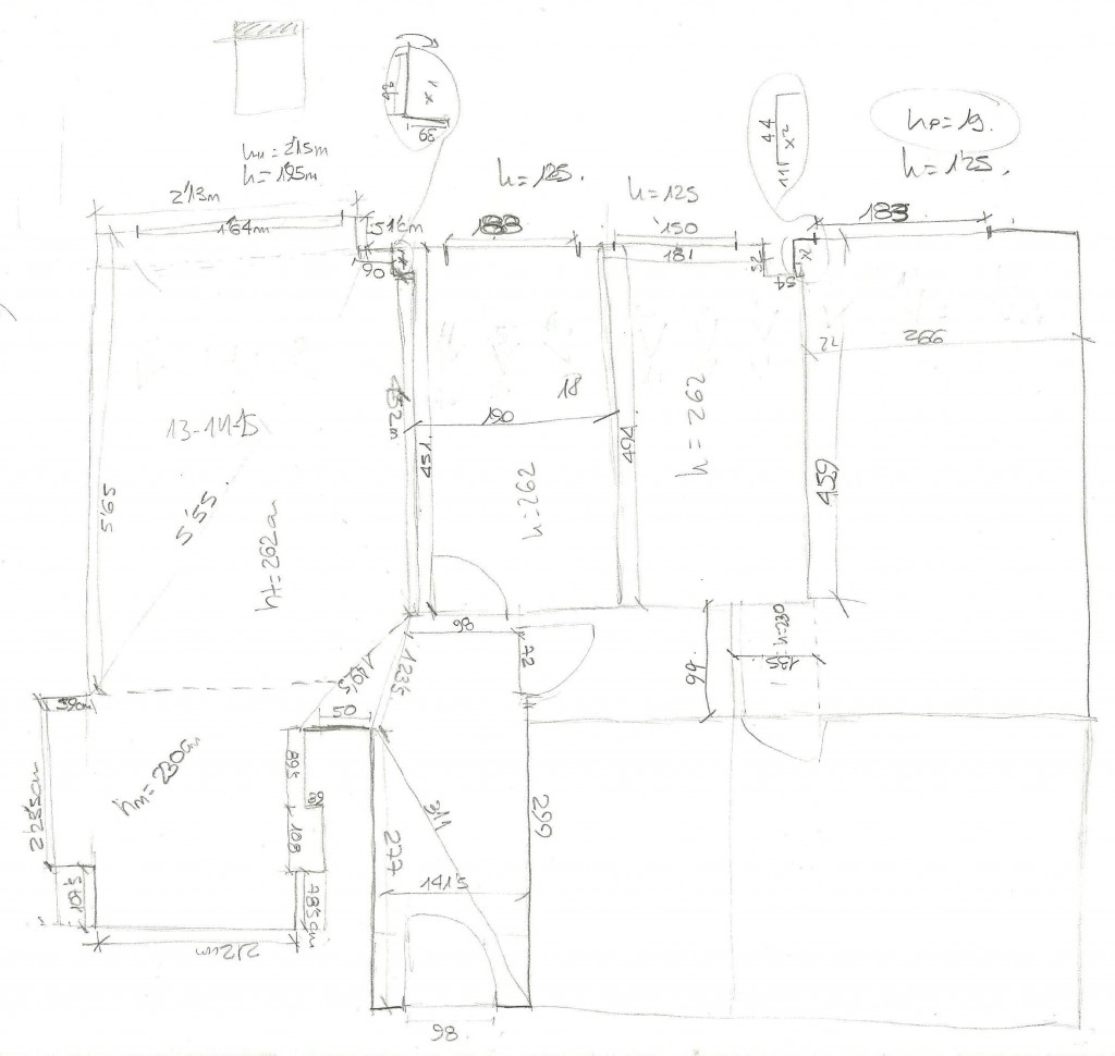 Ejemplo de un croquis con medidas de una vivienda